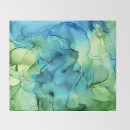 Blue Green Spring Marble Abstract Ink Painting Throw Blanket