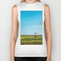 kansas Biker Tanks featuring Kansas Skyline by Marie Apel