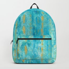 Gold in Deep Turquoise watercolor art Backpack
