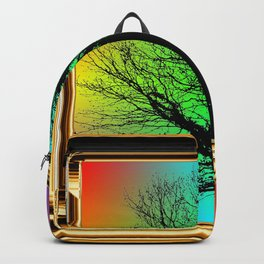 Black tree in Golden Frame. Backpack