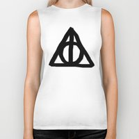 deathly hallows Biker Tanks featuring Deathly Hallows on Parchment by Hannah Ison