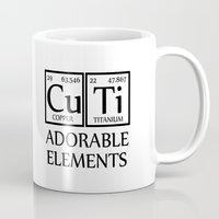 periodic table Mugs featuring CUTI Adorable Elements Periodic Table by raineon