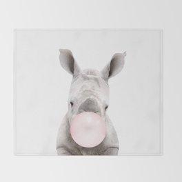 Bubble Gum Baby Rhino Throw Blanket