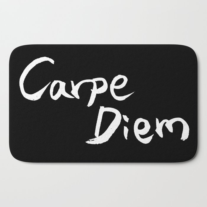 Carpe Diem White Character Bath Mat By Lifeisbeautiful Society6