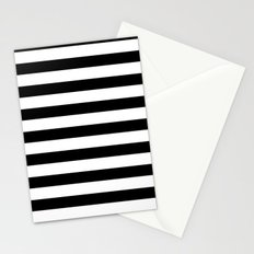 Midnight Black and White Stripes Stationery Cards