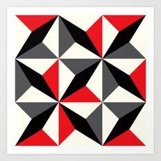 Geometric Pattern #25 (black red diamonds) Art Print