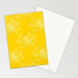 Lovely Modern Lotus Flowers on Sunny Yellow Background - Spring Summer Mood #decor #society6 #buyart Stationery Cards