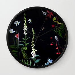 Foxgloves, Ferns and Long-tailed Tits Wall Clock