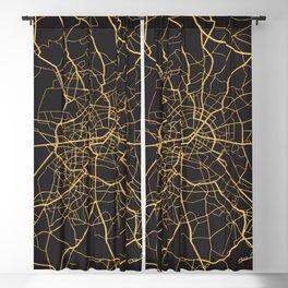 BERLIN GERMANY GOLD ON BLACK CITY MAP Blackout Curtain