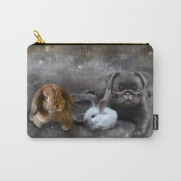 Rabbits and a Pug Carry-All Pouch
