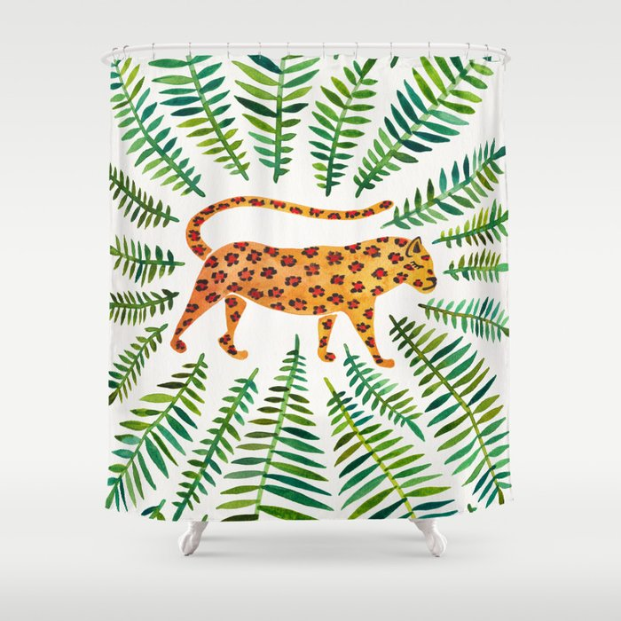 Jaguar – Green Leaves Shower Curtain by catcoq | Society6