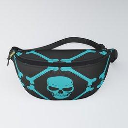 Skull and bones teal on black Fanny Pack
