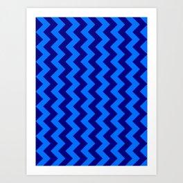 Brandeis Blue and Navy Blue Vertical Zigzags Art Print