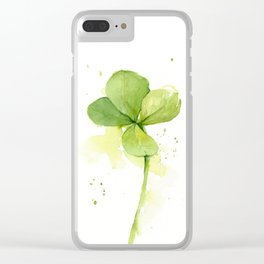 Clover Watercolor Four Leaf Clover Clear iPhone Case