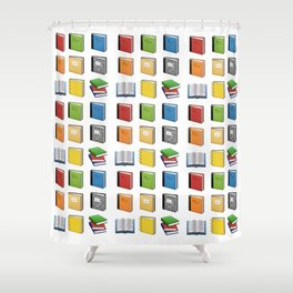 Book Emoji Pattern Shower Curtain