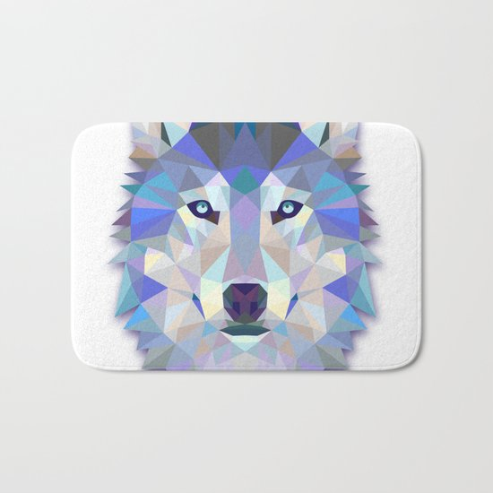 Colorful Wolf Bath Mat