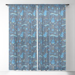 The Spirit of Jazz Pattern Sheer Curtain