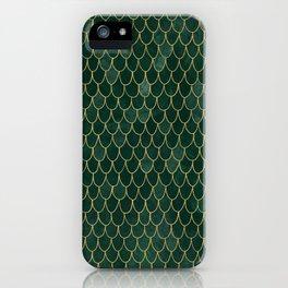 Mermaid Fin Pattern // Emerald Green Gold Glittery Scale Watercolor Bedspread Home Decor iPhone Case