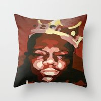 notorious big Throw Pillows featuring Notorious Big by The Art Of Gem Starr