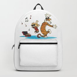 calvin and hobbes dancing with music Backpack