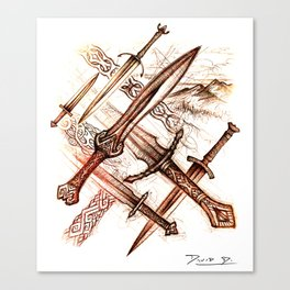 Mythopoetic Blades Canvas Print