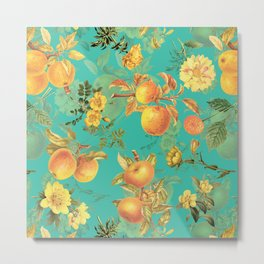 Vintage & Shabby Chic - Summer Golden Apples Flowers Garden Metal Print