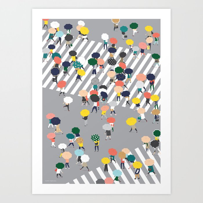 Crossing The Street on a Rainy Day - Grey Art Print