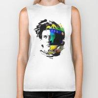 senna Biker Tanks featuring Ayrton Senna do Brasil - White & Color Series #4 by Universo do Sofa - Artes & Etecetera