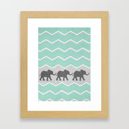 Three Elephants - Teal and White Chevron on Grey Framed Art Print