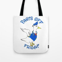 donald duck Tote Bags featuring Pants Off Friday - Donald Duck by Bianca McKay