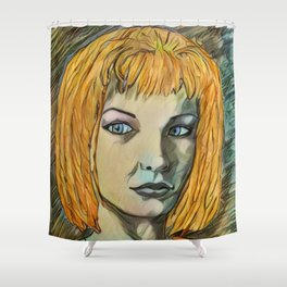 Leeloo Noir Shower Curtain