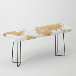 For God so loved the world, world map in gold Bench