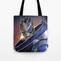 garrus Tote Bags featuring Garrus Vakarian Portrait - Mass Effect by MarcoMellark