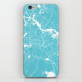 Amsterdam Turquoise on White Street Map iPhone Skin