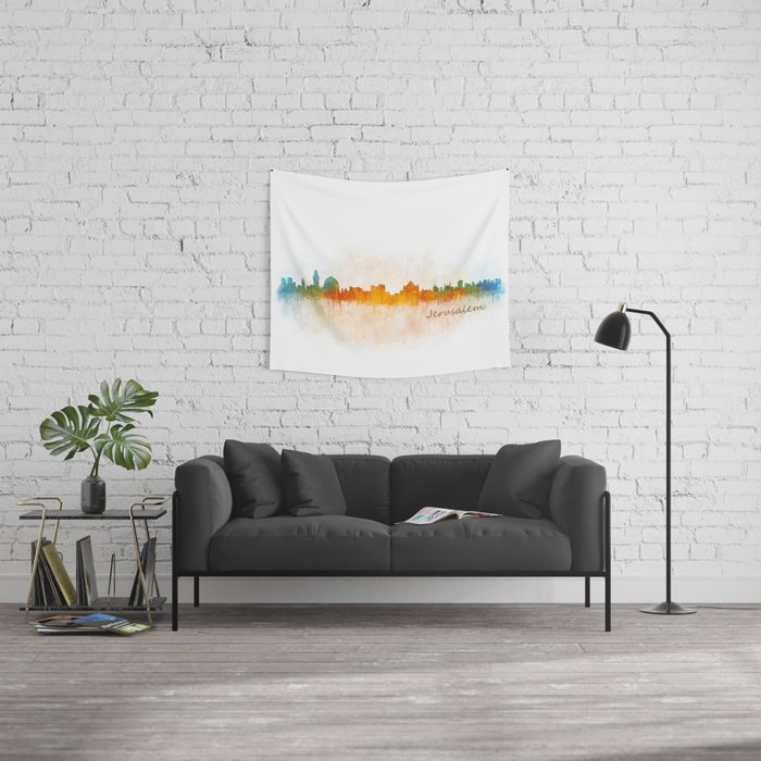 Jerusalem City Skyline Hq v3 Wall Tapestry