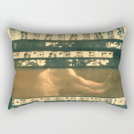 The Melody of Ballet Dance, collage, blue print, cyanotype print, wall art, wall decor Rectangular Pillow