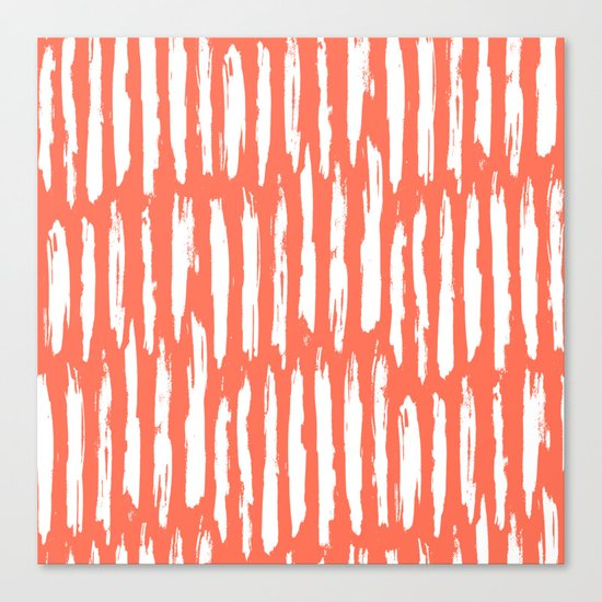 Vertical Dash White on Deep Coral Canvas Print