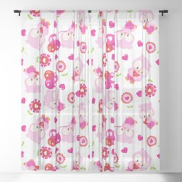 Pattern Of Owls, Love Owls, Valentine Owls, Hearts Sheer Curtain