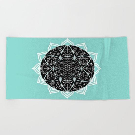 Teal Mandala Beach Towel