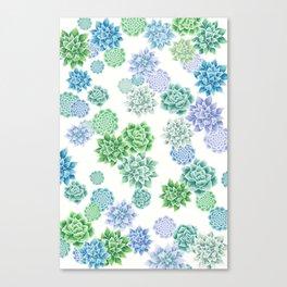 Floral succulent pattern Canvas Print