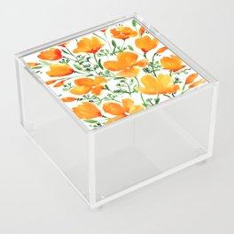 Watercolor California poppies Acrylic Box