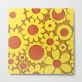 Groovy Daisy Floral in Goldenrod + Yellow Metal Print