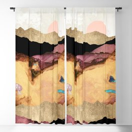 Mauve and Gold Mountains Blackout Curtain