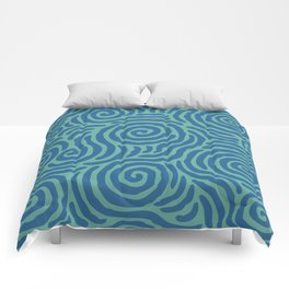 Ripple Effect Pattern Blue and Green Comforters