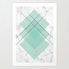 Marble Scandinavian Design Geometric Squares Art Print