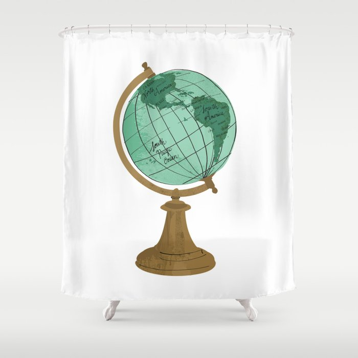 Illustrated Globe Shower Curtain by dollabails | Society6