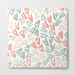 Papier Découpé Modern Abstract Cutout Pattern in Soft Sage Green and Pale Coral on White  Metal Print