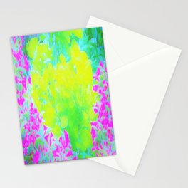Vivid Yellow and Pink Abstract Garden Foliage Stationery Cards