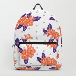 Floral clemson sports college football university varsity team alumni fan gifts purple and orange Backpack