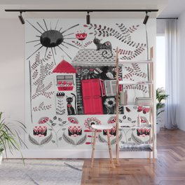 Folk Art Cottage and Cats Wall Mural